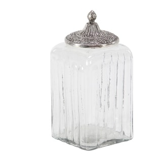 Traditonal 8 x 5 Inch Glass and Aluminum Canister
