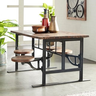 Studio 350 Mahogany Brown Wood/Iron Rustic Dining Table