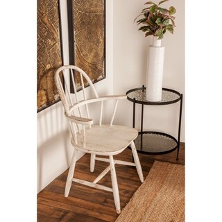 Farmhouse 36 x 26 Inch Distressed White Wooden Chair