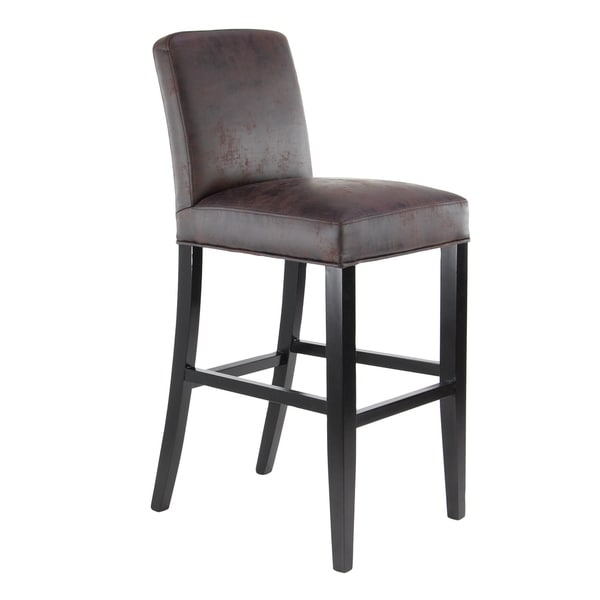 Shop Eclectic 43 X 19 Inch Brown Microfiber Bar Stool On