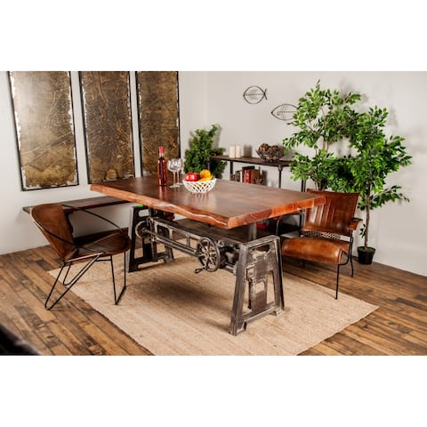 Industrial Rectangular Brown Metal and Wood Dining Table by Studio 350