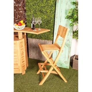 Set of 2 Farmhouse 45 Inch Brown Wood Folding Bar Chairs