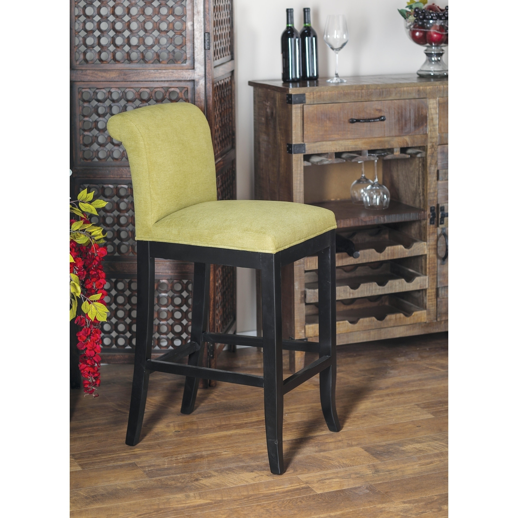 Eclectic 42 x 19 inch green bar stool