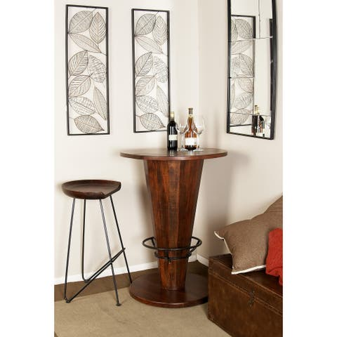 Modern 40 x 28 Inch Round Brown Wood and Iron Bar Table