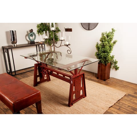 Modern Rectangular Red Metal and Wood Dining Table by Studio 350