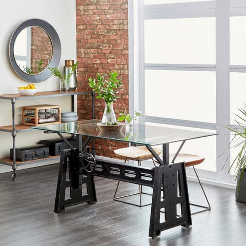 Modern Rectangular Black Wood and Metal Dining Table by Studio 350