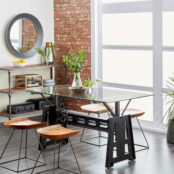 Shop Modern Rectangular Black Wood And Metal Dining Table By Studio 350 Overstock 20444840