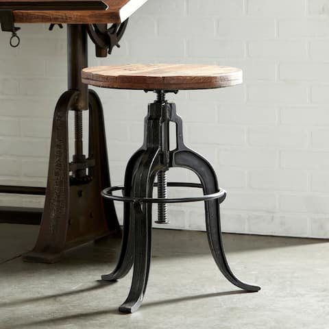 "17"" x 29"" Industrial Style Adjustable Round Metal & Teak Wood Stool with Foot Stand by Studio 350"