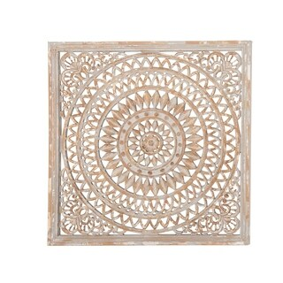 Rustic 36 x 36 Inch Square Wood Ornate Carved Framed Wall Decor