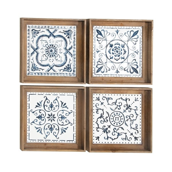 Set of 4 Contemporary 17 x 17 Inch Square Framed Wooden Wall Art