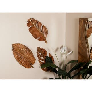 Carved Wood 12 x 24 Inch Leaf Wall Art Set of 3 by Studio 350