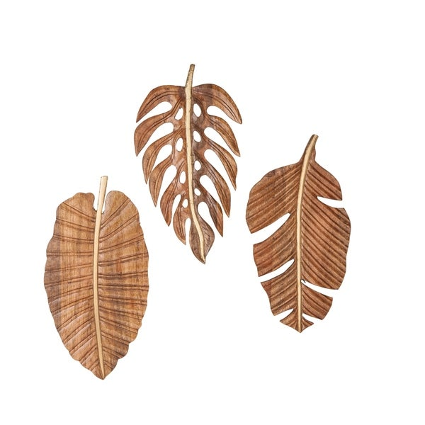 Shop Carved Wood 12 X 24 Inch Leaf Wall Art Set Of 3 By Studio