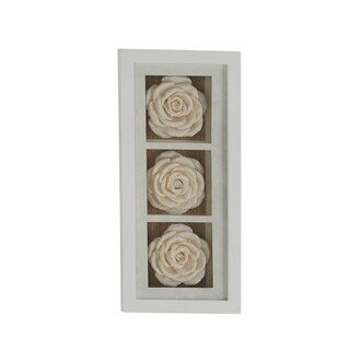 Natural 8 x 18 Inch Wooden Framed White Rose Flowers Wall Decor