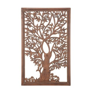 Natural 42 x 30 Inch Rectangular Brown Wooden Carved Tree Wall Decor
