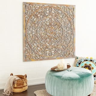 Rustic 48 x 48 Inch Square Brown Wood Ornate Wall Decor