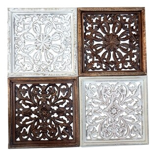 Set of 4 Traditional 16 x 16 Inch Scroll and Floral Square Wall Panels