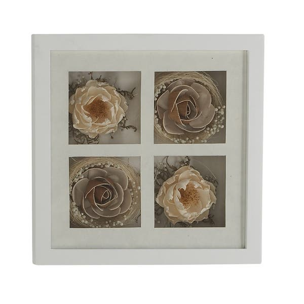 Shop Natural 13 X 13 Inch Framed White Peony And Gray Rose