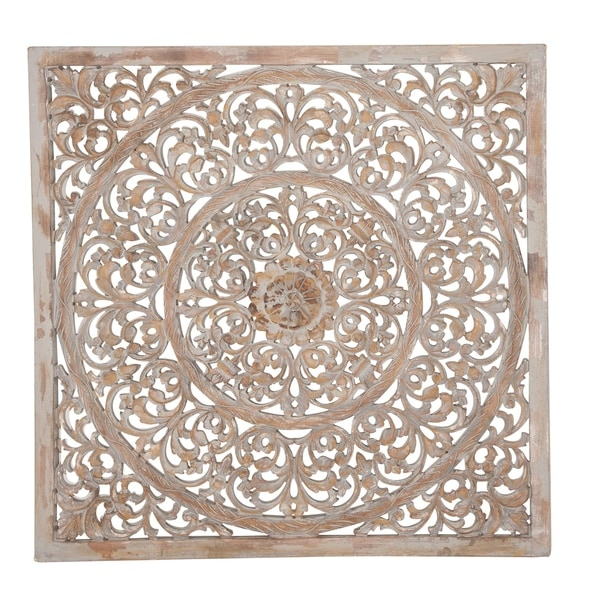 Rustic 36 x 36 Inch Square Brown Wood Ornate Wall Decor