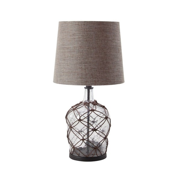 Modern 29 x 15 Inch Rattan Cage Table Lamp with Linen Drum Shade