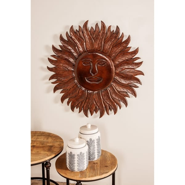 Eclectic 31 Inch Dark Brown Wooden Sun Face Wall Panel