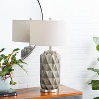 Contemporary 28 x 15 Inch Gold Earthenware, Linen and Iron Table Lamp