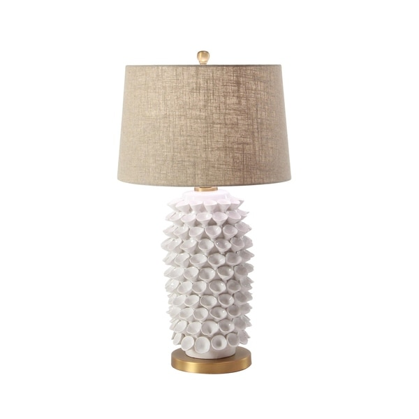 Contemporary 29 x 16 Inch Tan, White and Gold Pineapple Table Lamp