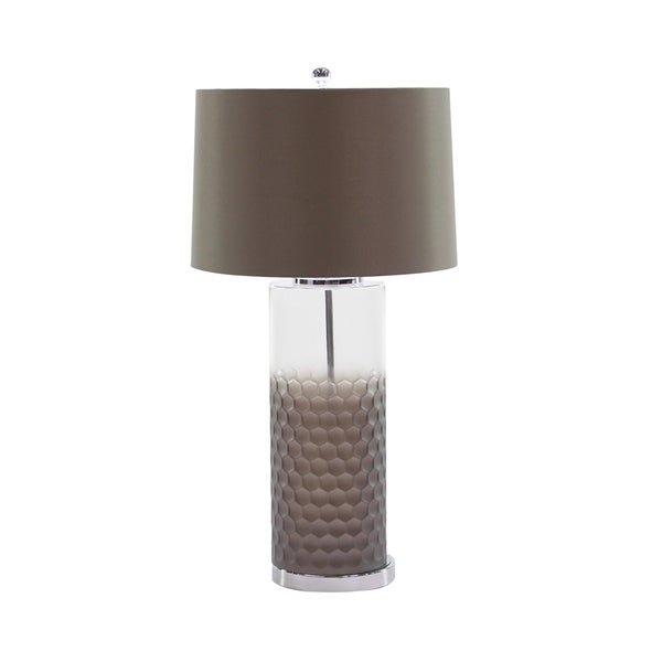 Modern 31 x 16 Inch Brown Glass, Fabric and Iron Table Lamp
