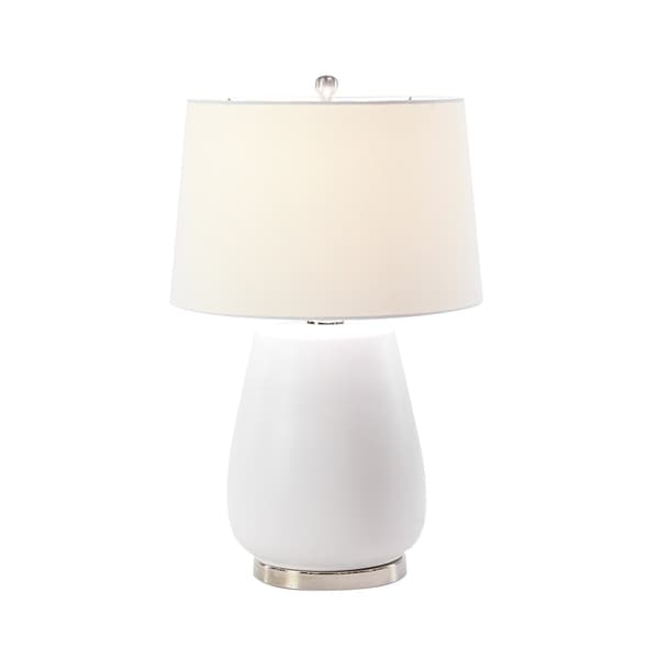 Modern 25 x 16 Inch White Earthenware, Linen and Iron Table Lamp