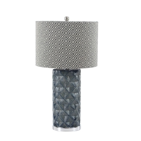 Modern 28 x 15 Inch Cylindrical Gray Table Lamp