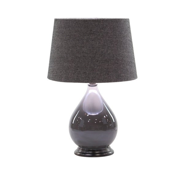 Modern 25 x 16 Inch Matte Gunmetal Gray Table Lamp with Linen Shade