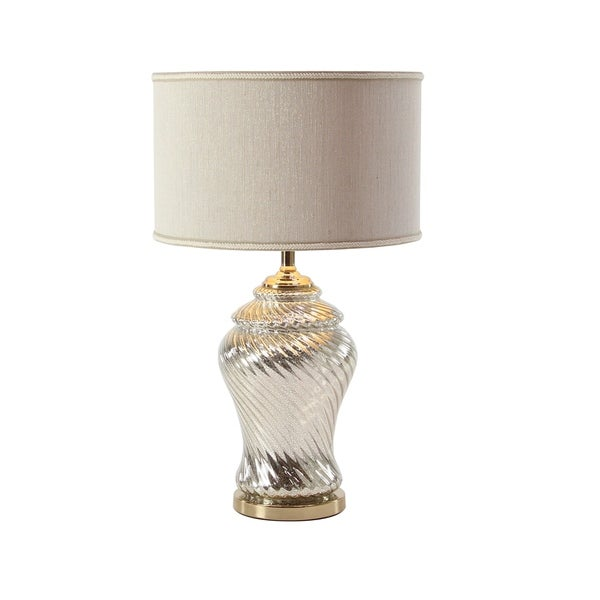 Modern 26 x 16 Inch Glass Table Lamp with White Linen Shade