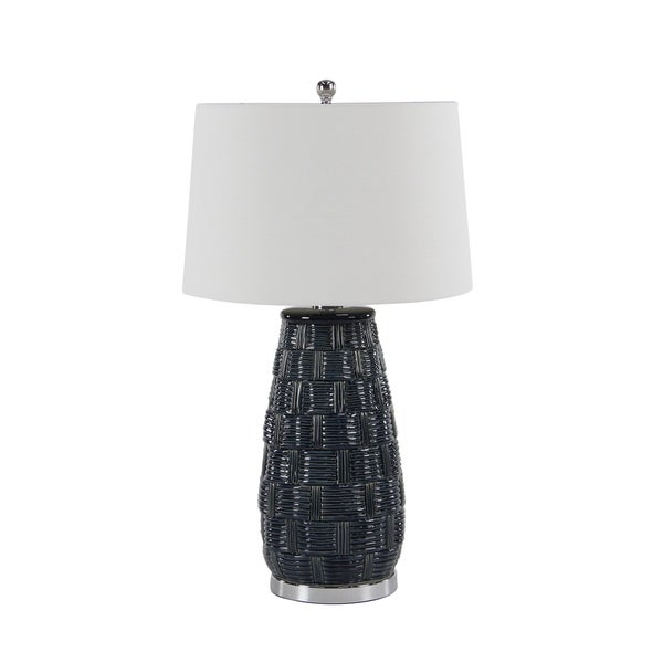 Modern 30 x 17 Inch Cylindrical Black Table Lamp