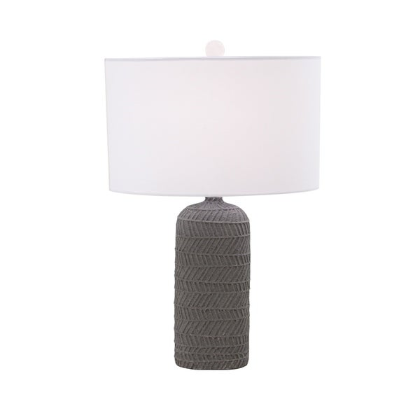 Modern 26 x 18 Inch Gray Polystone Table Lamp