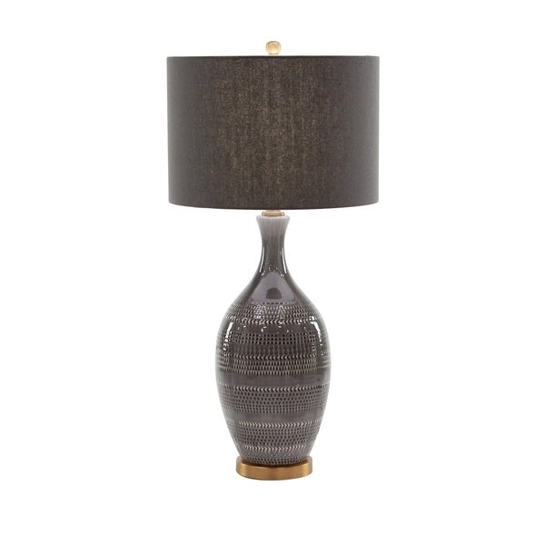 Contemporary 33 x 16 Inch Brown Earthenware, Linen and Iron Table Lamp