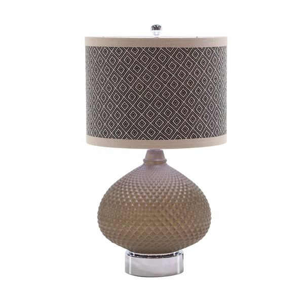 Contemporary 25 x 14 Inch Brown Glass, Iron and Linen Table Lamp