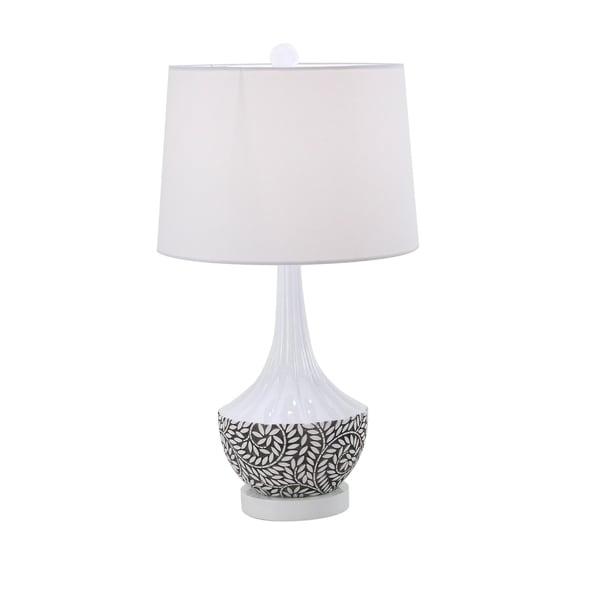 Modern 27 x 16 Inch White Polystone Table Lamp