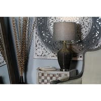 Modern 29 x 14 Inch Bronze Earthenware, Linen and Iron Table Lamp