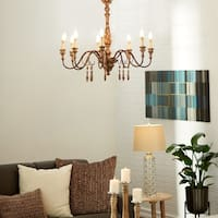 Traditional 29 x 34 Inch Elegant Iron and Wood Chandelier