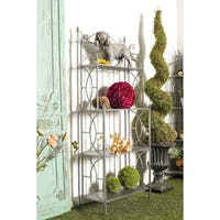 Traditional 60 x 24 Inch Black Iron and Wood Four-Tiered Shelf