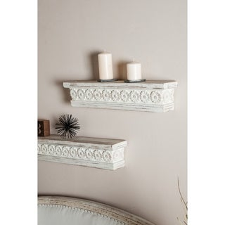 Link to Farmhouse 6 x 28 Inch Distressed White Wooden Wall Shelf by Studio 350 Similar Items in Accent Pieces