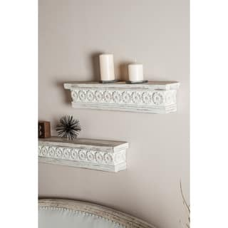 Farmhouse 6 x 28 Inch Distressed White Wooden Wall Shelf by Studio 350
