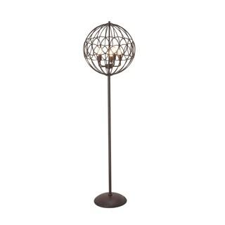 Studio 350 Modern Round Black Iron Cage Floor Lamp