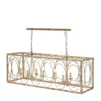 Rustic 18 x 48 Inch Rectangular Gold Iron Chandelier by Studio 350