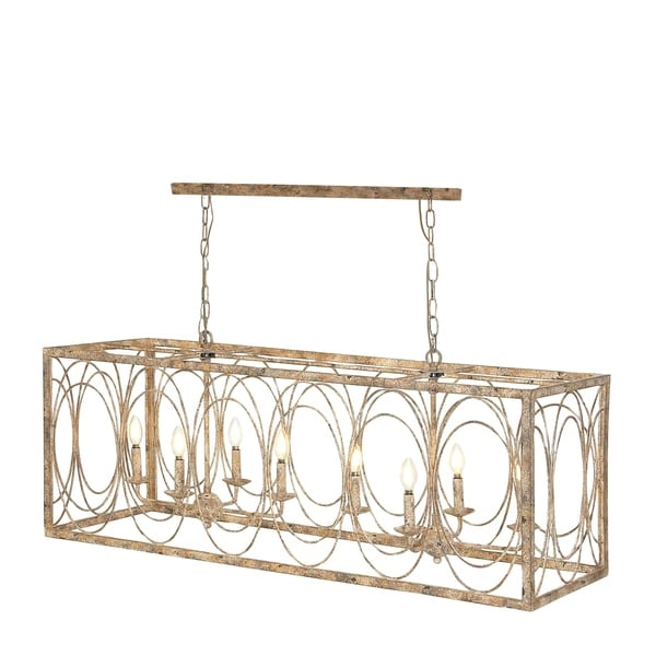 Red Rectangular Chandelier: Shop Rustic 18 X 48 Inch Rectangular Gold Iron Chandelier