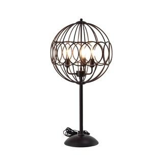 Modern 31 x 15 Inch Round Black Iron Cage Floor Lamp