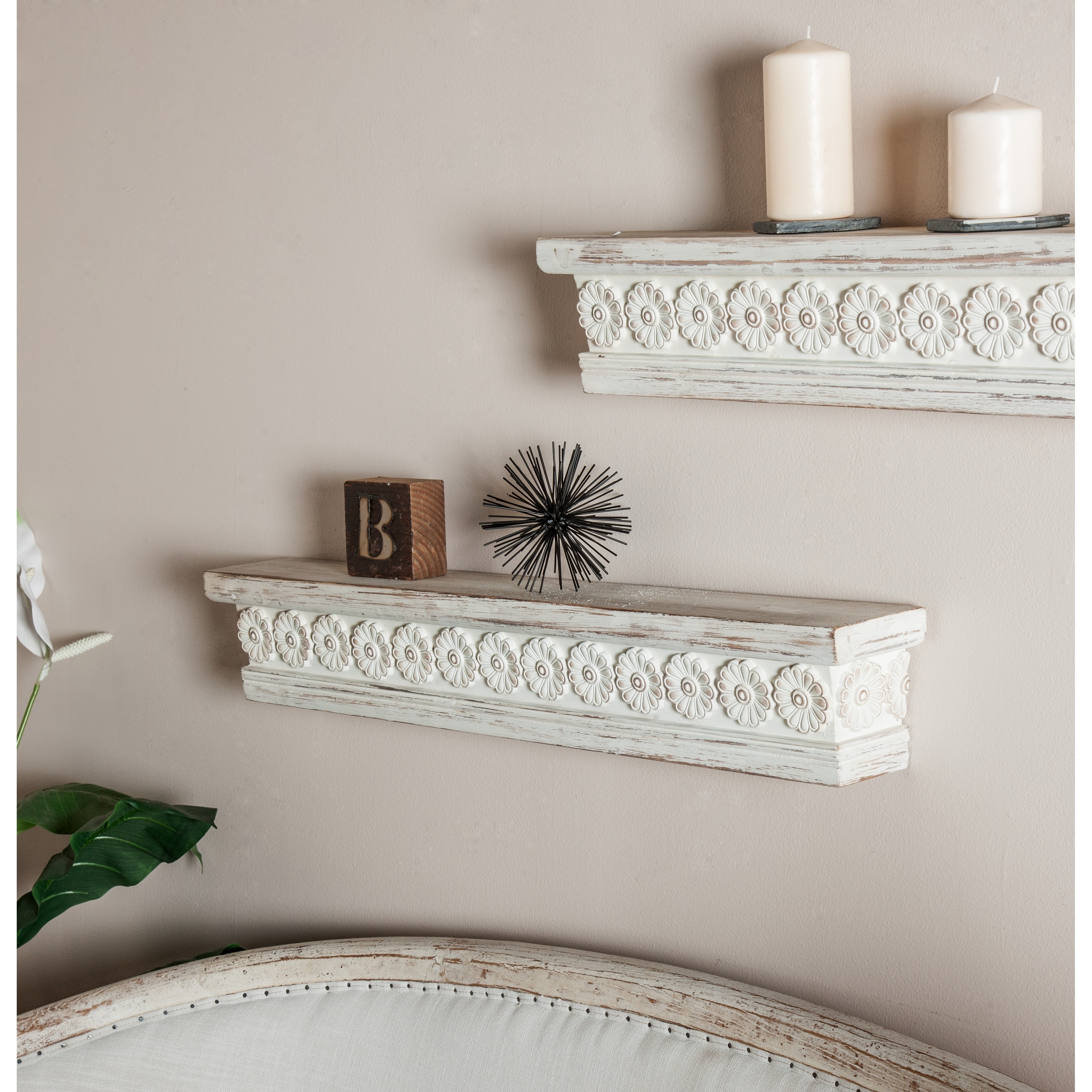 Details About Rustic 6 X 36 Inch Distressed White Wooden Wall Shelf By Studio 350