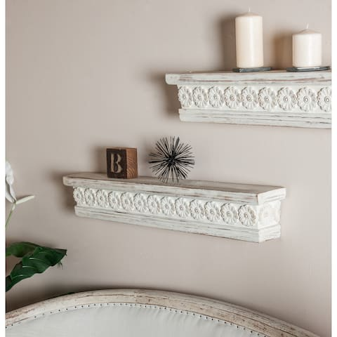 Rustic 6 x 36 Inch Distressed White Wooden Wall Shelf by Studio 350