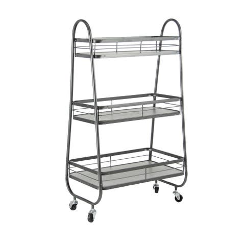 Farmhouse 31 x 19 Inch Gray Iron and Wood Three-Tiered Bathroom Cart