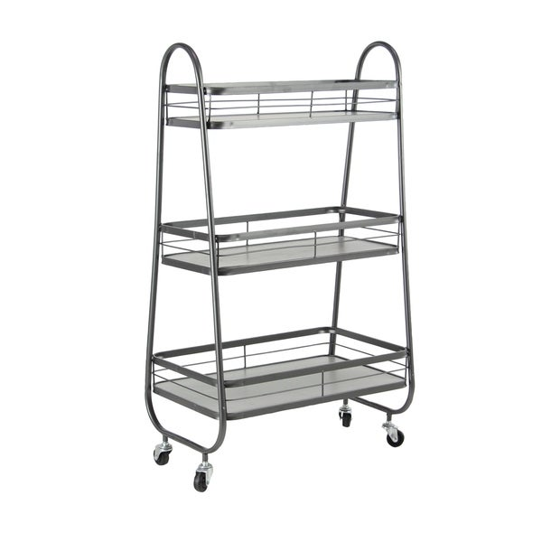 farmhouse 31 x 19 inch gray iron and wood three tiered bathroom cart - Bathroom Cart