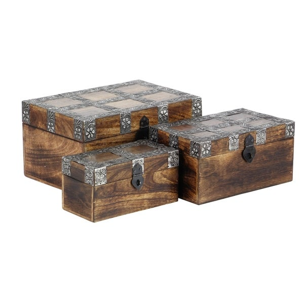 Set of 3 Rustic 4, 6, and 8 Inch Rectangular Boxes with Floral Bands